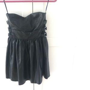 Strapless Black Pleather Zara Cocktail Dress (SM)